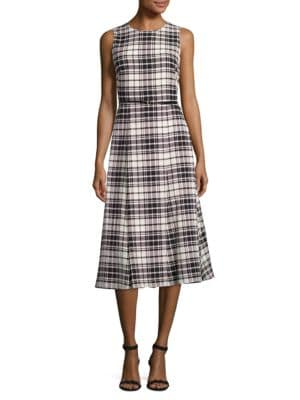 Plaid Fit-&-Flare Dress by Calvin Klein