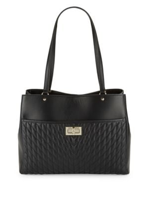 Diamond Stitched Leather Tote by Karl Lagerfeld Paris