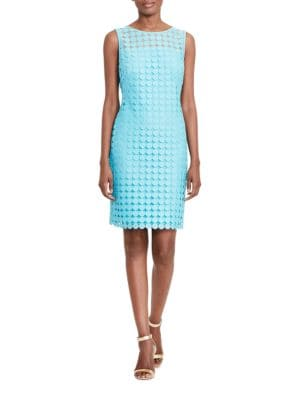 Geometric-Lace Sheath Dress by Lauren Ralph Lauren