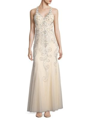 Embellished Trumpet Gown by Sean Collections