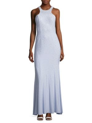 Rhinestone Sleeveless Column Gown by Xscape