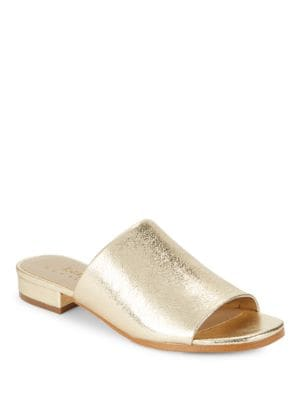 Buy Yeva Crackle Leather Slides by 424 Fifth online