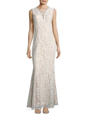 Lace Trumpet Gown by Betsy & Adam