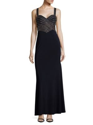 Beaded Sleeveless Column Gown by Betsy & Adam