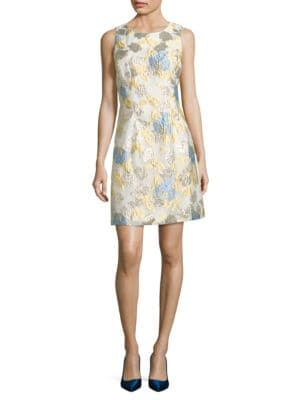 Floral Brocade A-Line Dress by Belle Badgley Mischka