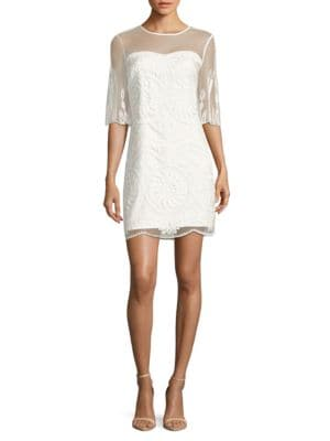 Embroidered Scalloped Dress by Nicole Miller New York