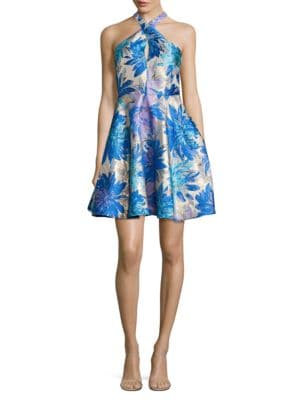 Floral-Print Jacquard Halterneck Dress by Belle Badgley Mischka