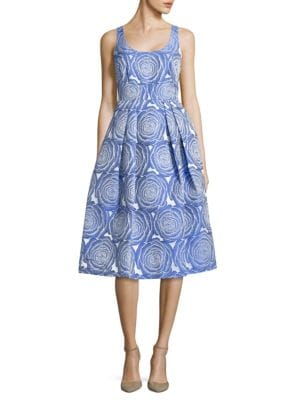 Pleated Floral Midi Dress by Ivanka Trump