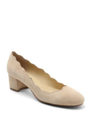 Aubree Scalloped Suede Block Heel Pumps by Kensie