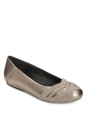 Spin Cycle Crisscross Faux Leather Ballet Flats by Aerosoles