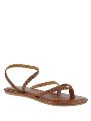 Braided Leather Strappy Flat Sandals by Mia