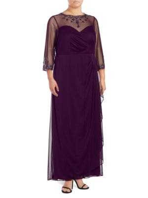 Sheer-Sleeve Embellished Dress by Xscape