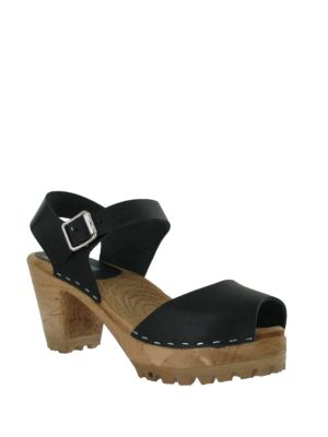 Greta Leather Ankle Strap Clogs by Mia