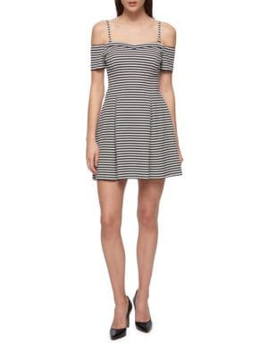 Striped Squareneck Fit-&-Flare Dress by Guess