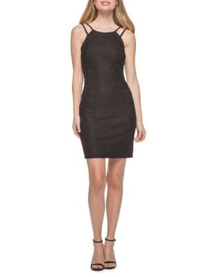 Embroidered Halter-Front Dress by Guess