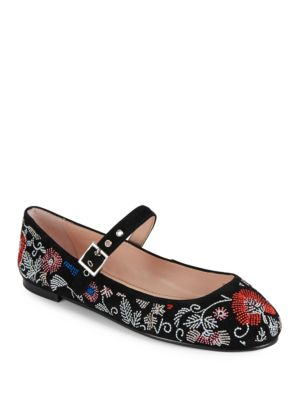 Renee Embroidered Mary Jane Flats by Avec Les Filles
