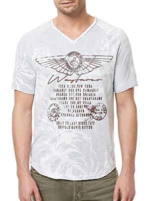 Printed Cotton V-Neck Tee by BUFFALO David Bitton
