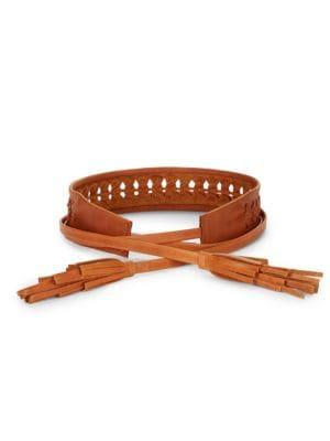 Leather Woven Tassel Belt by Ada