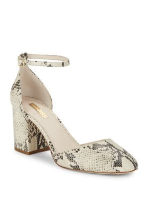 Idina Embossed Leather Block Heels by Louise et Cie