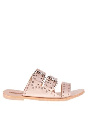 Foster Eyelet Leather Slides by Sol Sana