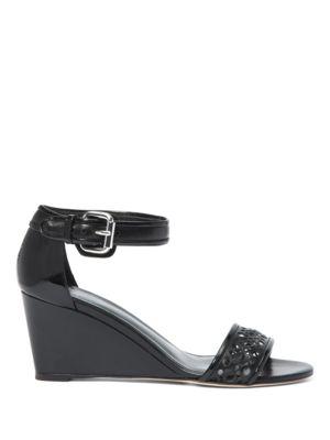 Doria Laser Cut Leather Mid-Wedge Sandals by Aquatalia