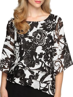 Floral Tiered Chiffon Blouse by Alex Evenings