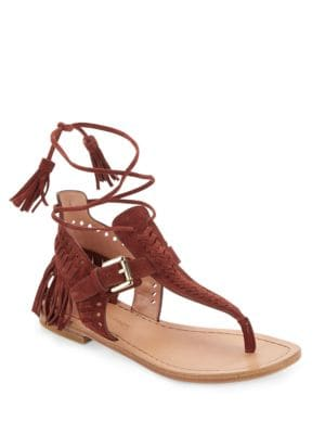 Alysa Suede Fringe Accented Thong Sandals by Sigerson Morrison