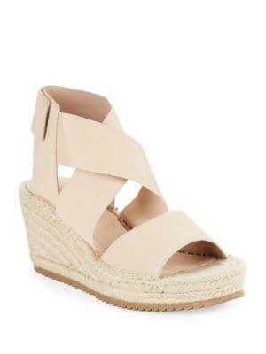 Willow Tumbled Leather Espadrilles Platform Wedge Sandals by Eileen Fisher
