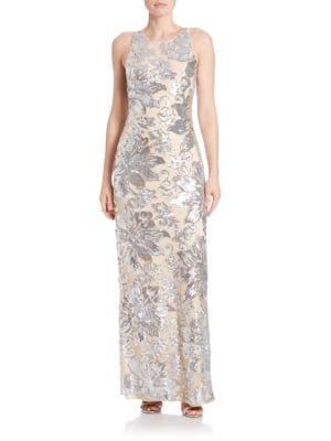Floral Column Gown by Belle Badgley Mischka