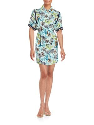 Pineapple Print Shirt Dress by Anna Sui