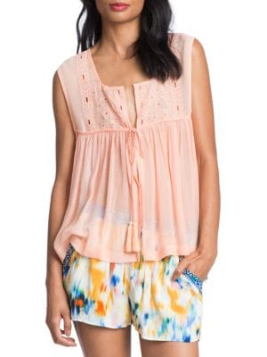 Shirred Embroidered Jersey Top by Plenty by Tracy Reese