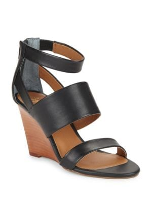Suave Leather Stacked Wedge Sandals by Seychelles