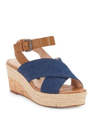 Elvia Leather & Denim Espadrille Wedge Sandals by French Connection