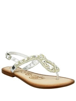 Rock On Embellished Leather Thong Sandals by Naughty Monkey