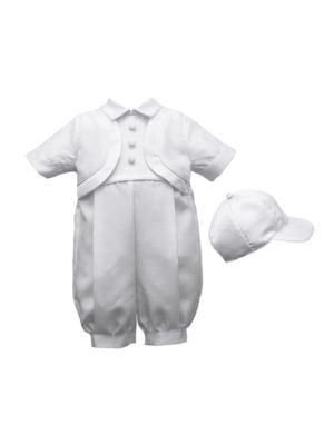 Christening Romper with Attached Bolero Vest and Cap