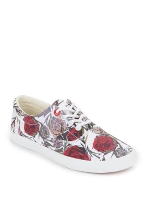 Geo Rose Print Lace-Up Low Top Sneakers by bucketfeet