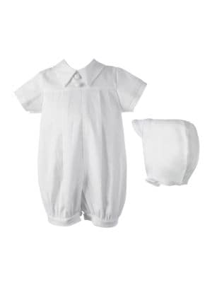 Christening Pleated Romper with Hat