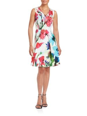 Floral Fit-and-Flare Dress by Ellen Tracy