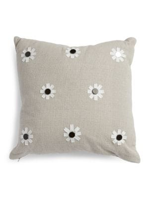 Flower Applique Decorative Pillow