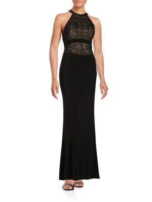 Beaded Halter Gown by Badgley Mischka Platinum