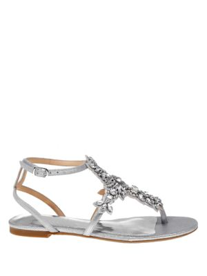 Cara II Metallic Leather Crystal Embellished Thong Sandals by Badgley Mischka
