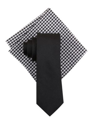 Seasonal Solid Silk-Linen Tie and Pocket Square Set by Tallia Orange