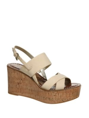 Destiny Leather Platform Wedge Sandals by Sam Edelman