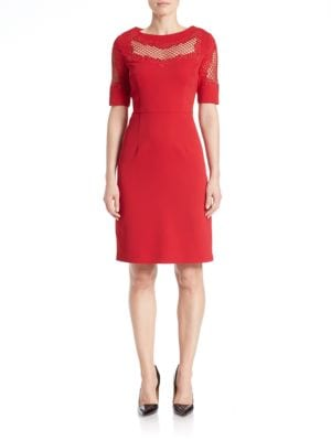 Mesh Yoke Sheath Dress by Nue By Shani