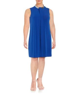 Mock-Wrap Shift Dress by Calvin Klein Plus
