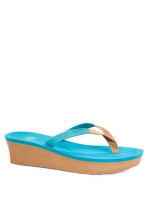 Ruby Beach Leather Wedge Flip Flops by UGG