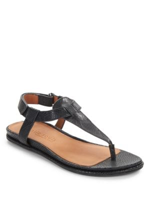 Oxford Embossed Leather Thong Sandals by Gentle Souls
