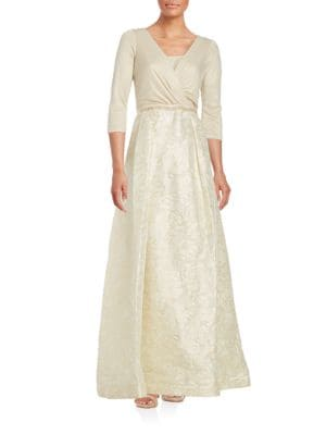 Three-Quarter Sleeve Jacquard Ball Gown by Teri Jon