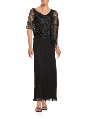 Beaded Popover Gown by J Kara