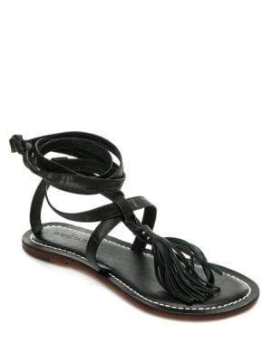 Mosie Fringed Leather Thong Sandals by Bernardo